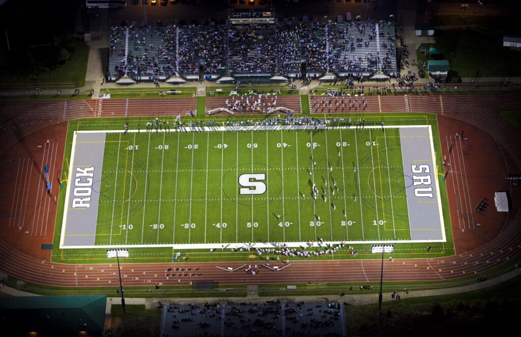 A NFL football field in 360 feet in length and 160 feet in width